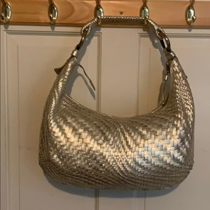Cole Haan Gold Woven Leather Hobo Bag